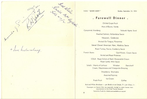 signed farewell dinner menu